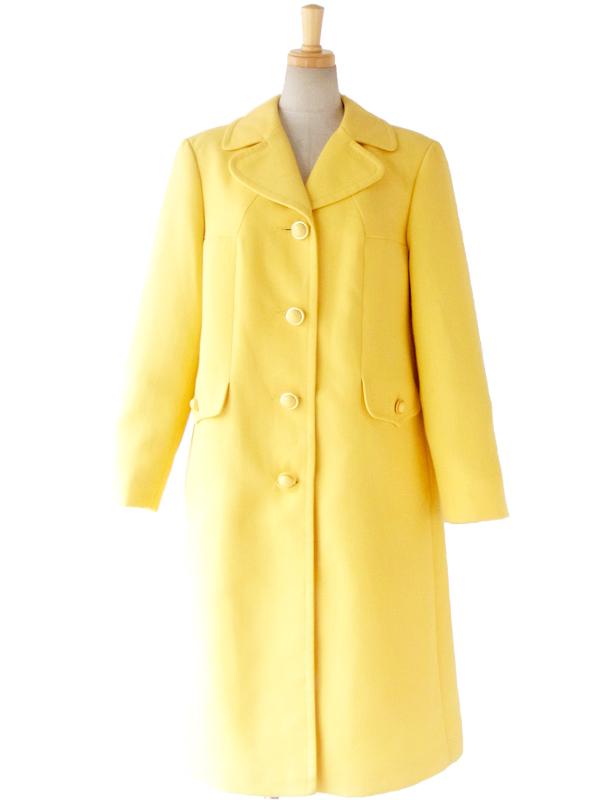【送料無料】フランス買い付け 60年代製 きれいなイエロー x ステッチ x デザインボタン コート 14FC613【ヨーロッパ古着】