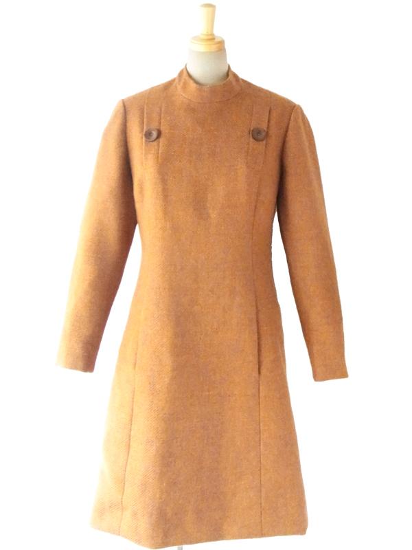 ヨーロッパ古着 フランス買い付け 60年代製 オレンジ ヴィンテージ ウールワンピース : 14FC614