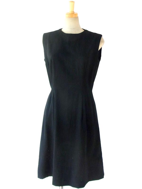 フランス買い付け 60年代製 ブラック エレガントライン ウール ワンピース 14FC710
