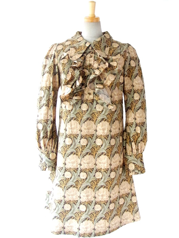 日本製 Jewel Trash / Dollybirds Baroqie 繊細なプリント生地 X 胸元たっぷりフリル ワンピース
