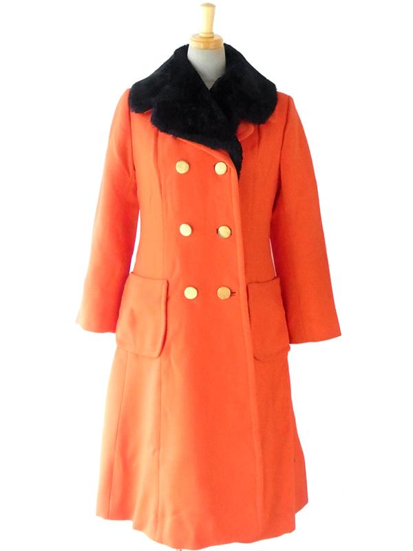 【送料無料】ロンドン買付 60年代製 レッド X ブラック ファー襟 ヴィンテージ ウールコート 14SP006【ヨーロッパ古着】