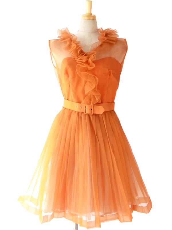 ヨーロッパ古着 ロンドン買い付け 60年代製 オレンジ オーガンジー ベルト付き プリーツドレス 15BS001