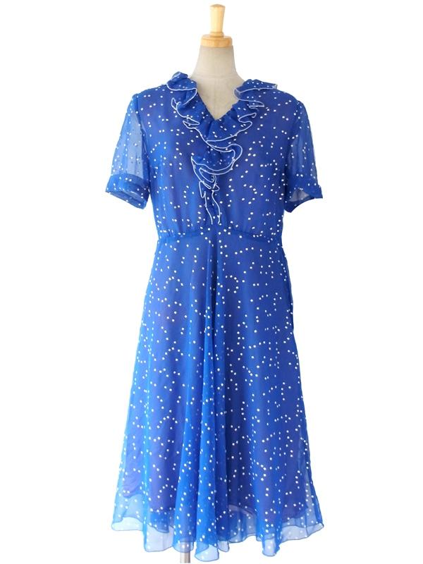 【送料無料】ロンドン買い付け 60年代製 ロイヤルブルー X ホワイト ひだ飾り スクエアプリント シフォンドレス 15BS029【ヨーロッパ古着】