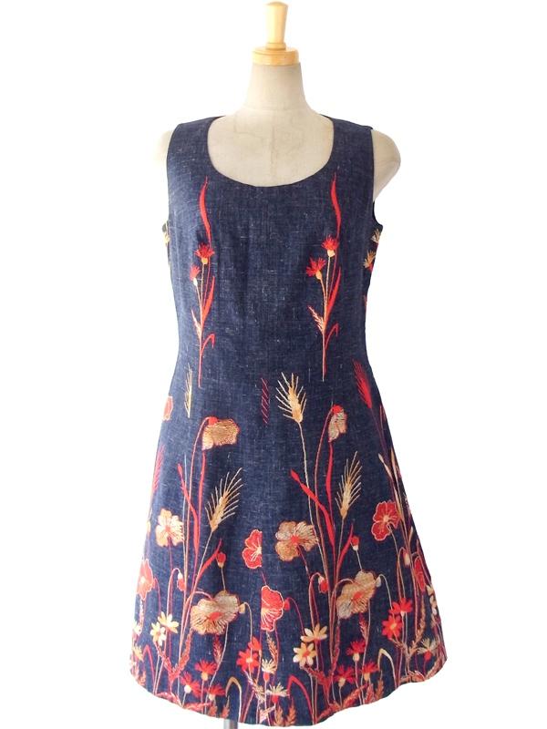 【送料無料】ロンドン買い付け 60年代製 インディゴ X 花柄刺繍 ヴィンテージ デニムワンピース 15BS105【ヨーロッパ古着】