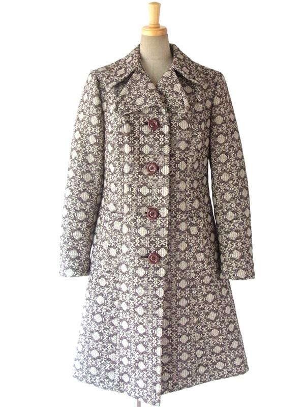 【送料無料】ロンドン買い付け 60年代製 アイボリー X ブラウン ゴシック風柄 ヴィンテージ ウールツイード コート 15BS323【ヨーロッパ古着】