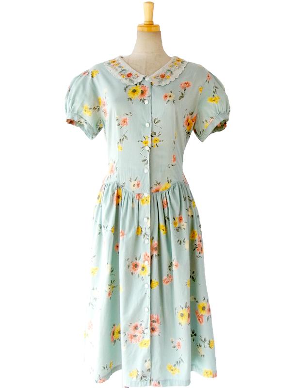 ヨーロッパ古着 淡い水色 X ローラアシュレイ風花柄 X 花柄刺繍衿 ロマンティック ワンピース 15FC011