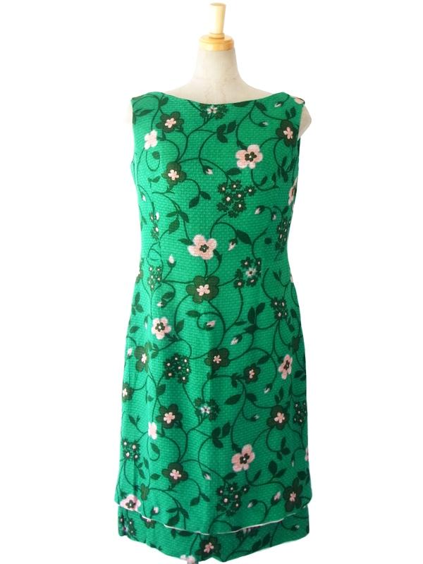ヨーロッパ古着 フランス買い付け 60年代製 グリーン X グリーン・ピンク花柄プリント ヴィンテージ ワンピース 15FC231