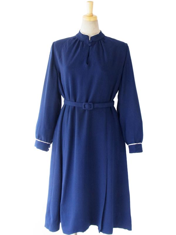 ヨーロッパ古着 ロンドン買い付け 60年代製 深く美しいブルー スタンドカラー X くるみボタン 梨地ウール ワンピース 15OM001