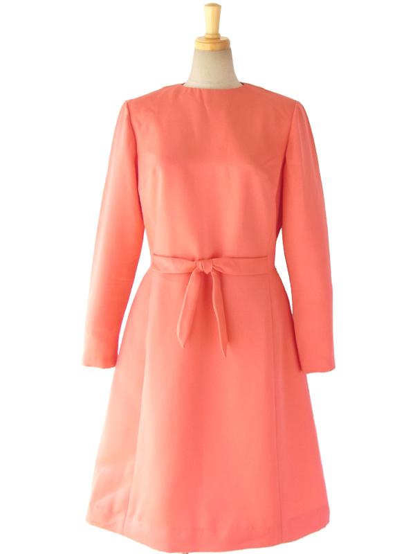 【送料無料】ロンドン買い付け 60年代製 サーモンピンク ウェストリボン ヴィンテージ ドレス 15OM030【ヨーロッパ古着】