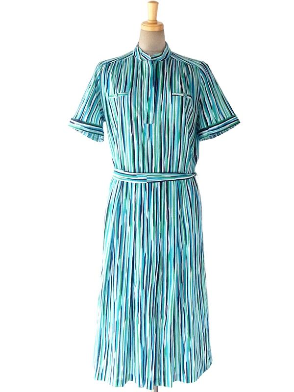 【送料無料】ロンドン買い付け 60年代製 ブルー・グリーン・ブラック 絵の具のようなタッチのストライプ ワンピース 16BS011【ヨーロッパ古着】
