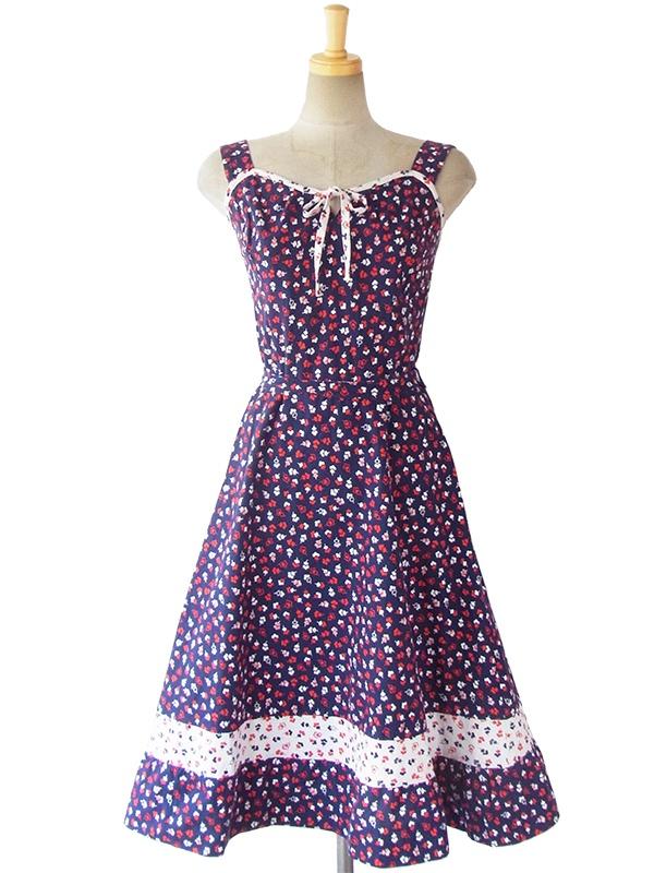 ヨーロッパ古着 ロンドン買い付け 60年代製 ブルー X レッド・ホワイト 小花柄 リボン付き ストラップ ワンピース 16BS019