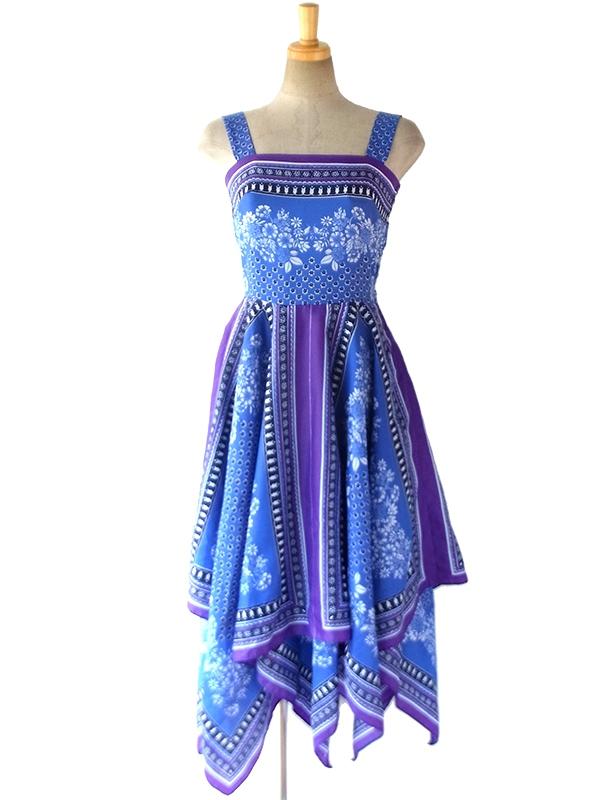 ロンドン買い付け 60年代製 ブルー X パープル 花柄 レイヤードスカート ヴィンテージ ワンピース 16BS205