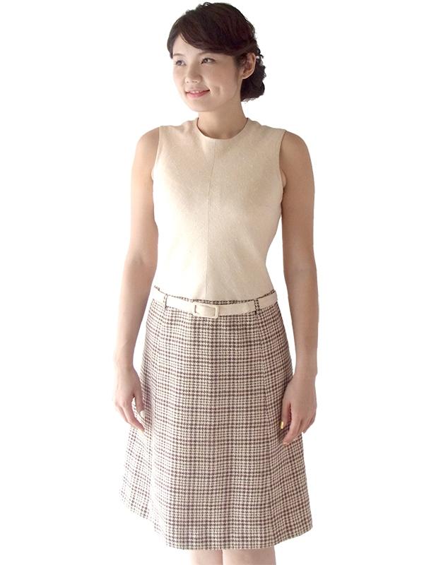 ロンドン買い付け 60年代製 アイボリー X ブラウン 千鳥格子スカート 共布ベルト付き ワンピース