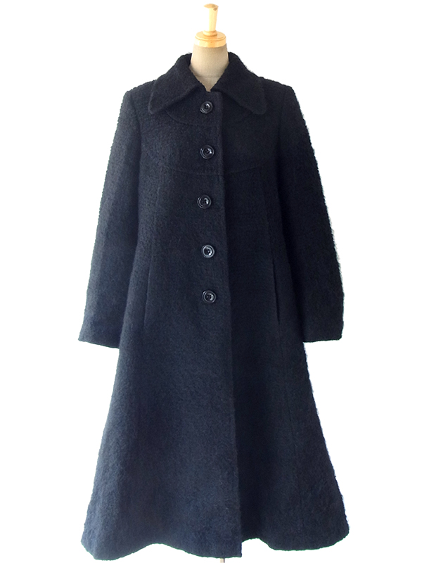 ヨーロッパ古着 ロンドン買い付け 70年代製 ブラック X シームデザイン Aライン ヴィンテージ コート 16BS423