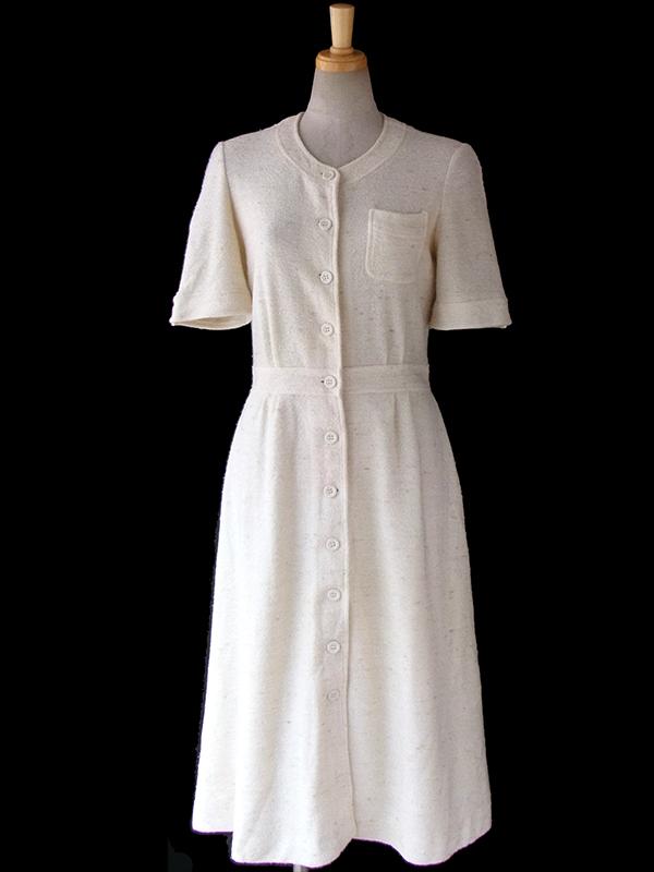 ヨーロッパ古着 フランス買い付け 70年代製 生成り色に淡いブラウンが織りませられた タオル生地 ワンピース 16FC015