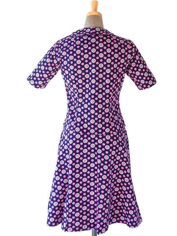 ヨーロッパ古着 フランス買い付け 60年代製 ネイビー X ピンク・ホワイト 水玉・花柄 ヴィンテージ ワンピース 16FC100