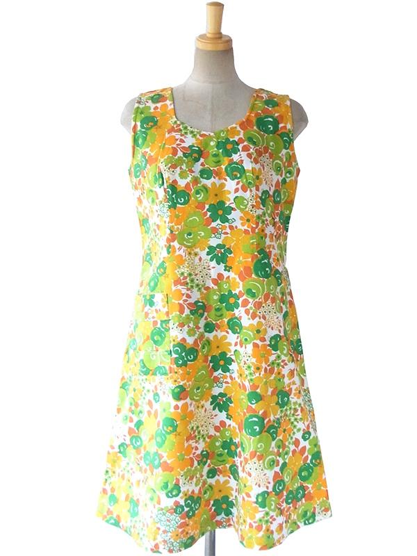 【送料無料】フランス買い付け 60年代製 ホワイト X グリーン・オレンジ 花柄 ポケット付き ヴィンテージ ワンピース 16FC104【ヨーロッパ古着】