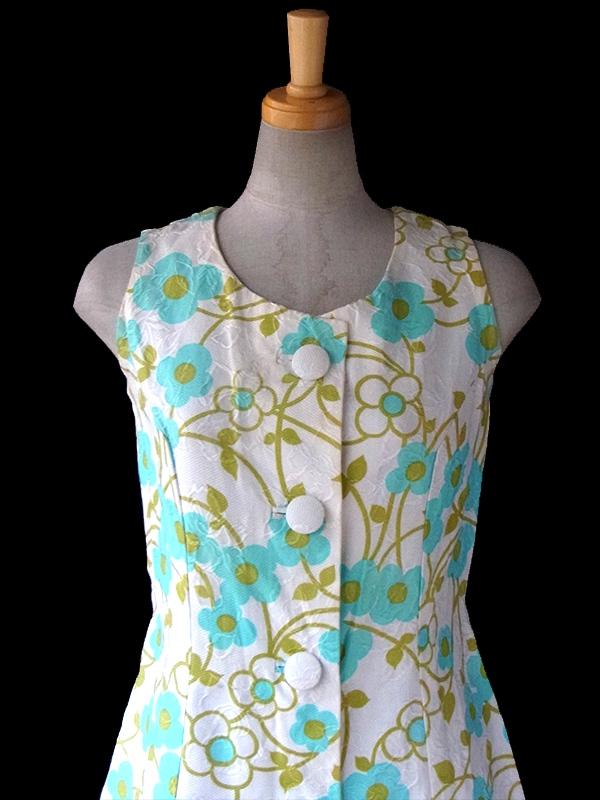 ヨーロッパ古着 フランス買い付け 60年代製 ホワイト 型押しで花柄が浮かぶ生地 X水色・黄緑花柄  ワンピース 16FC106