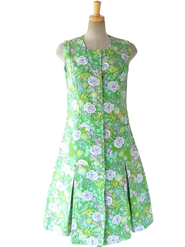 【送料無料】フランス買い付け 60年代製 グリーン X カラフル 花柄 ドロップウェスト ポケット付き  ヴィンテージ ワンピース 16FC107【ヨーロッパ古着】