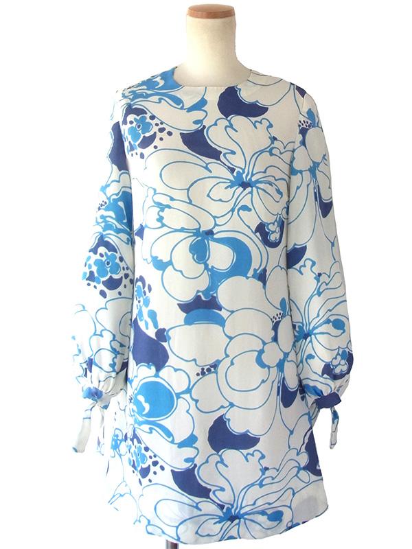フランス買い付け 60年代製 ホワイト X ブルー お花モチーフのレトロ柄 袖ひも絞り ワンピース 16FC311