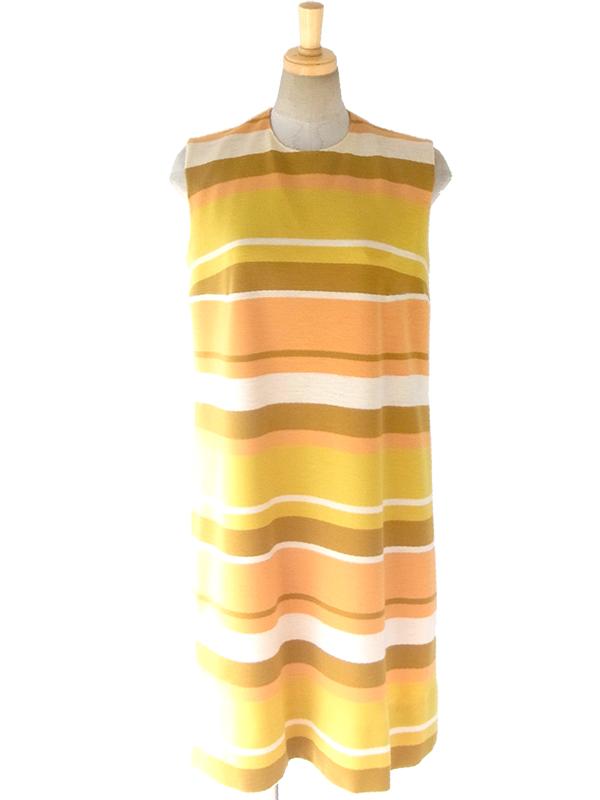 ヨーロッパ古着 フランス買い付け 60年代製 イエロー・オレンジ・ベージュ ボーダー ヴィンテージ ウール ワンピース 16FC423
