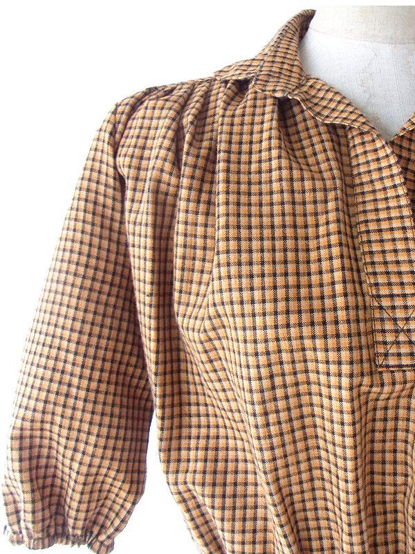 ヨーロッパ古着 フランス買い付け 60年代製 ダークオレンジ X ブラック チェック柄 パフスリーブ ワンピース 16FC505
