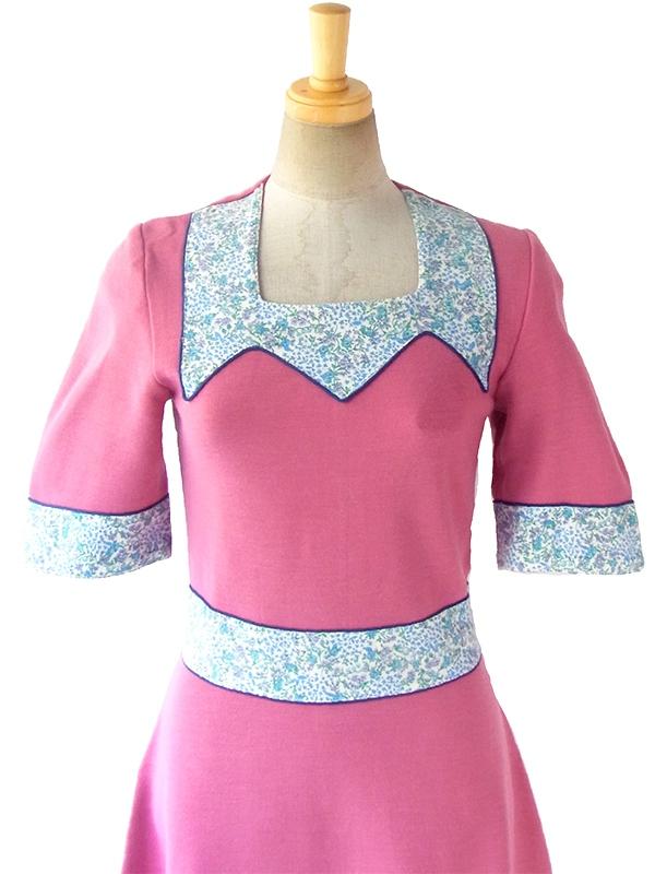ヨーロッパ古着 フランス買い付け 60年代製 ピンク X ブルーパイピング・花柄生地切り返し ヴィンテージ ワンピース 16FC506