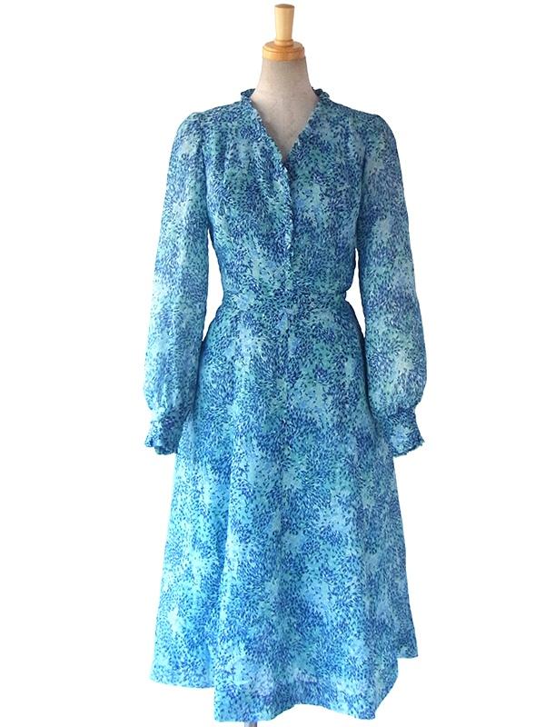 ヨーロッパ古着 ロンドン買い付け 60年代製 水色 X ブルー 花柄 ギャザーフリル ヴィンテージ ワンピース 16OM011