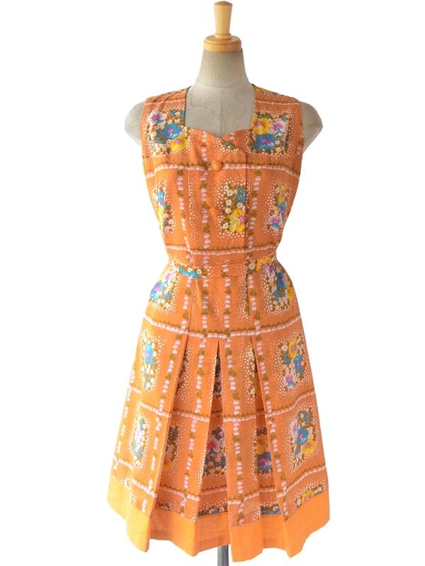 【送料無料】ロンドン買い付け 60年代製 オレンジ X カラフルレトロ花柄 デザインボタン 共布ベルト浮き ワンピース 16OM025【ヨーロッパ古着】