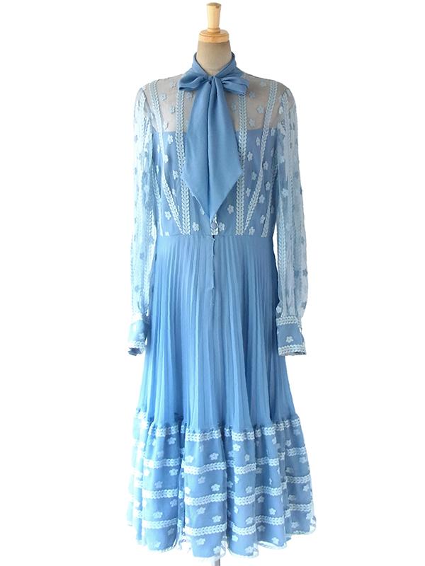 ヨーロッパ古着 ロンドン買い付け 水色 X 花柄レース ボウタイ アンブレラプリーツ ドレス 16OM1010