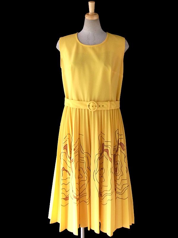 ヨーロッパ古着 ロンドン買い付け イエロー X  レトロ模様がプリーツスカートに広がる  共布ベルト付き ワンピース 16OM502