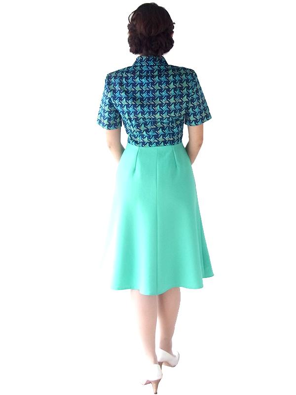 ロンドン買い付け 60年代製 ブルー レトロ柄 X ミントグリーン スカート 切り返し ワンピース 16OM700