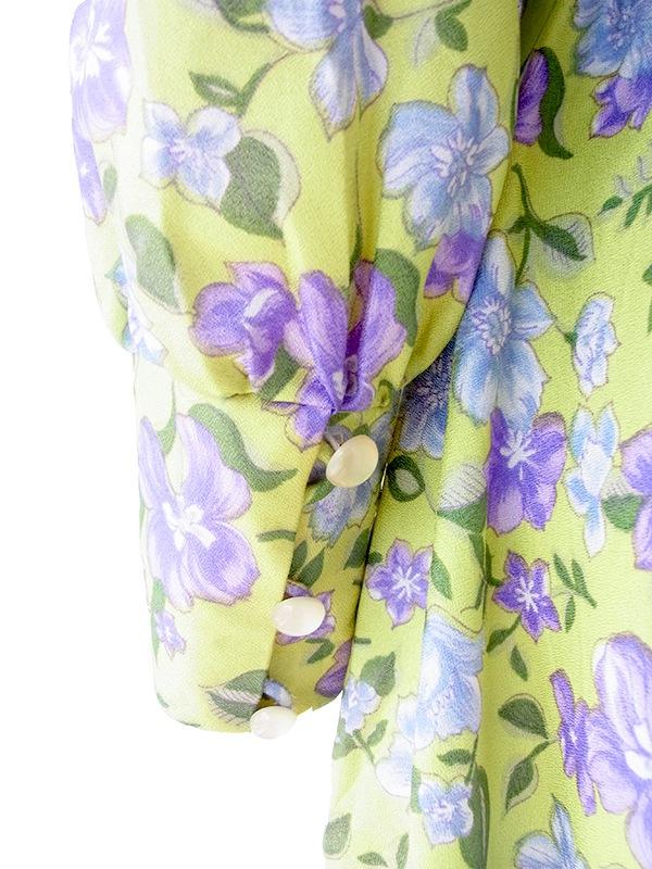 ヨーロッパ古着 ロンドン買い付け グリーン X パープル・水色 花柄プリント リボン付き レトロ ワンピース 16OM740