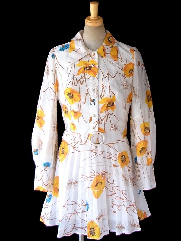 ヨーロッパ古着 ロンドン買い付け 70年代製 ホワイト X イエロー花柄 バックル風デザイン プリーツ ワンピース 16OM759
