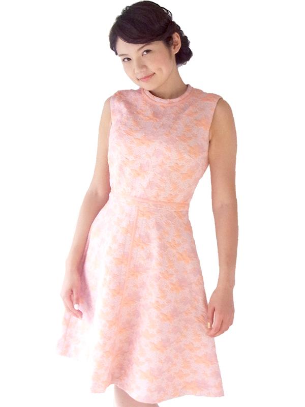 【送料無料】ロンドン買い付け パステルカラー ピンク X パープル モコモコの花柄が浮かぶ レトロ ワンピース 16OM915【ヨーロッパ古着】
