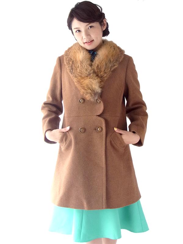 【送料無料】ロンドン買い付け 60年代製 ブラウン X ふかふかファー襟 スカラップ風ウェスト ウール コート 16OM929【ヨーロッパ古着】