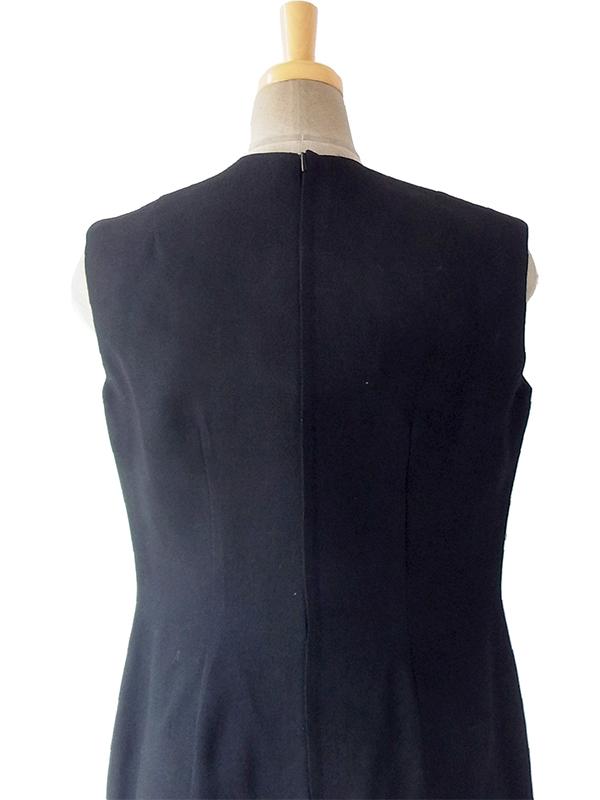 ヨーロッパ古着 ロンドン買い付け 60年代製 ブラック X カラフル花柄 胸ポケット レトロ ワンピース 17BS004