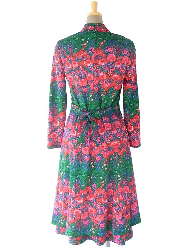 ヨーロッパ古着 ロンドン買い付け 70年代製 グリーン X レッド 花柄 襟元スカーフデザイン 共布ベルト付き ワンピース 17BS007