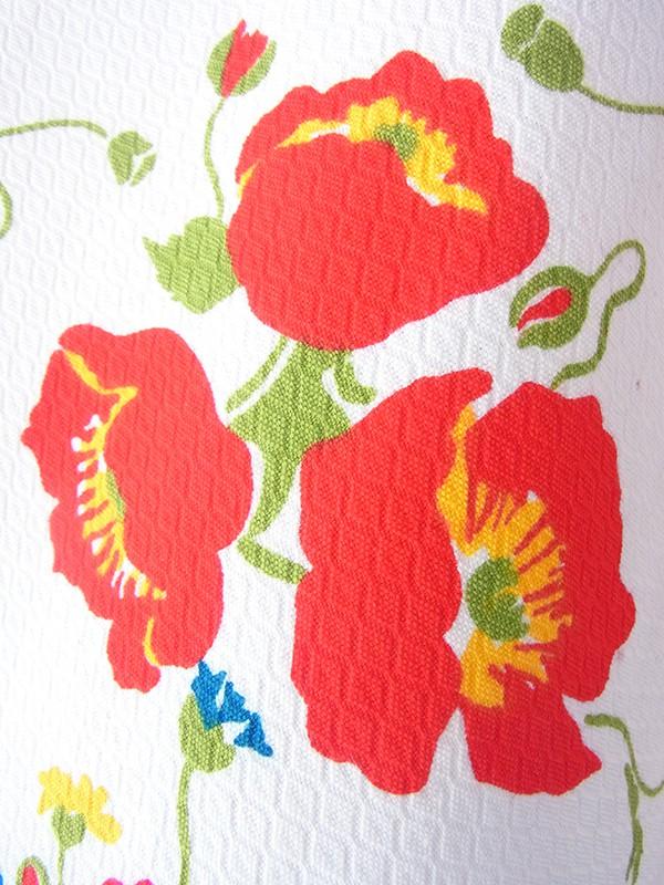 ヨーロッパ古着 ロンドン買い付け 60年代製 ホワイト X カラフル花柄 フレアシルエット レトロ ワンピース 17BS009