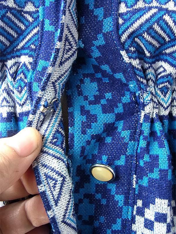 ヨーロッパ古着 ロンドン買い付け 60年代製 きれいなブルー X ホワイト レトロ柄 ヴィンテージ ワンピース 17BS026