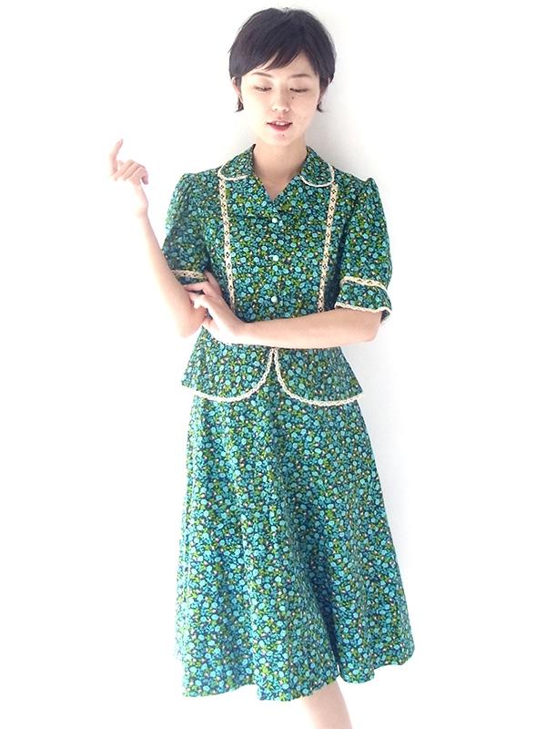 【送料無料】フランス買い付け 60年代製 ブルー・グリーン 小花柄 カットワークレース ヴィンテージ ツーピース 17FC011【ヨーロッパ古着】