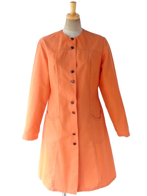 【送料無料】フランス買い付け 70年代製 オレンジ X ブルー ステッチ デザインポケット Aライン ワンピース 17FC104【ヨーロッパ古着】