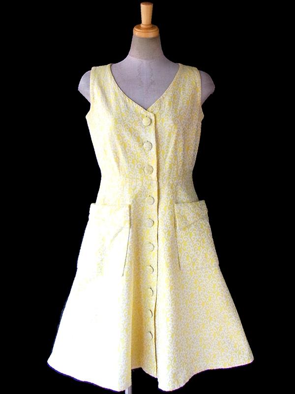 【送料無料】フランス買い付け 60年代製 イエロー X ホワイト ダマスク織り ヴィンテージ ワンピース 17FC115【ヨーロッパ古着】