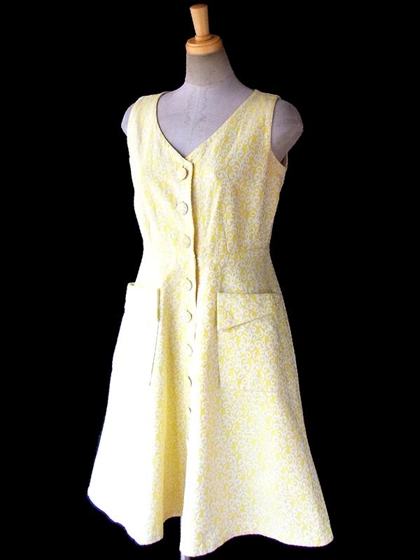 ヨーロッパ古着 フランス買い付け 60年代製 イエロー X ホワイト ダマスク織り ヴィンテージ ワンピース 17FC115