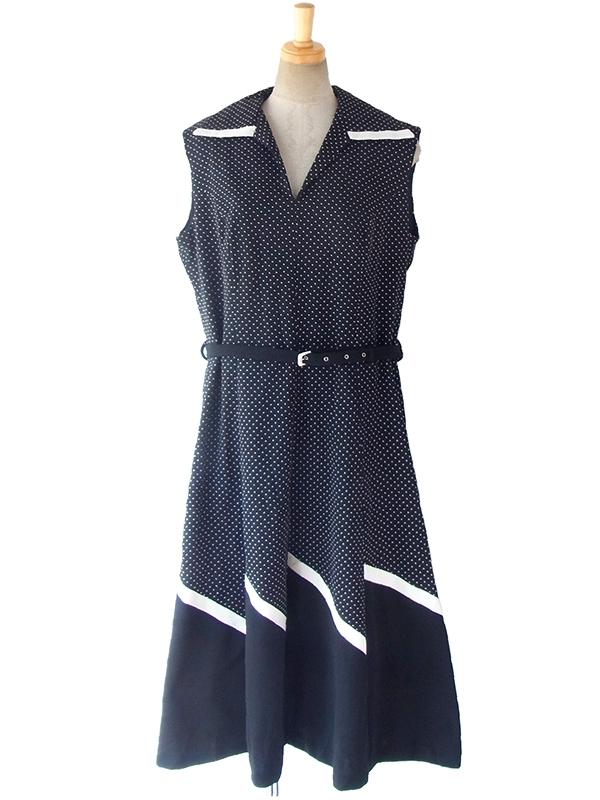 ヨーロッパ古着 ロンドン買い付け 70年代製 モノトーン X 水玉・裾元斜めストライプ ベルト付き レトロ ワンピース 17OM005