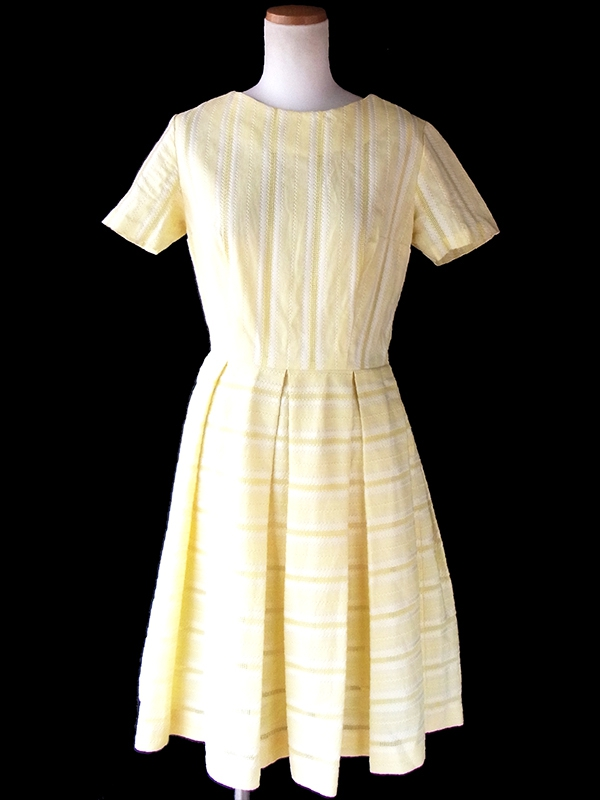 ヨーロッパ古着 ロンドン買い付け 60年代製 レモン色 X ホワイトテープ・波型刺繍 ヴィンテージ ワンピース 17OM007