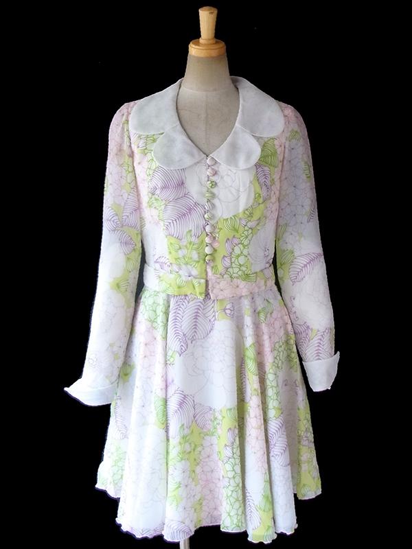 ヨーロッパ古着 ロンドン買い付け ホワイト X グリーン・パープル・ピンク 花柄 共布ベルト付きレトロ ワンピース 17OM012