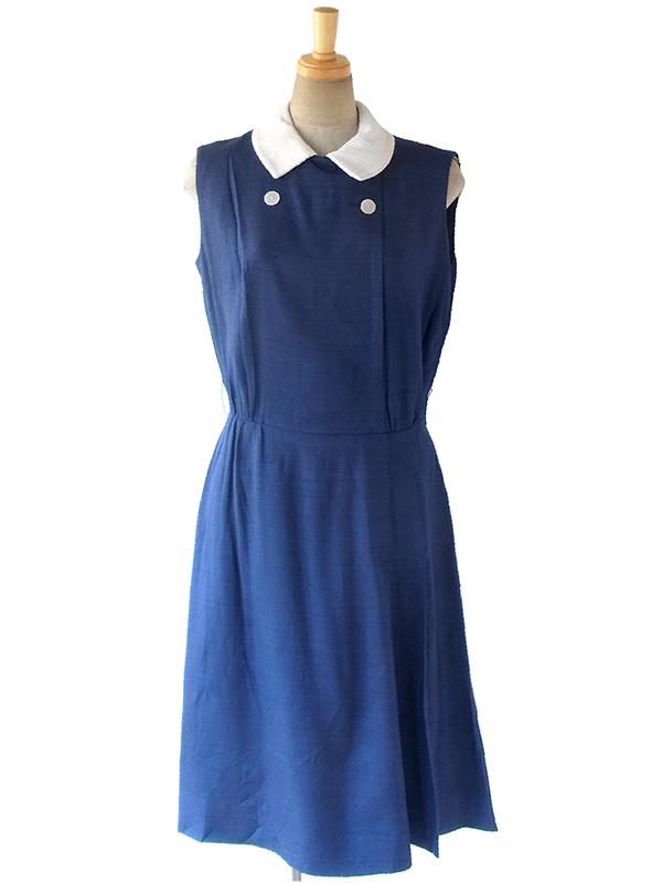 ヨーロッパ古着 ロンドン買い付け 70年代製 美しいブルー X ホワイト襟 ボタンデザイン ワンピース 17OM023