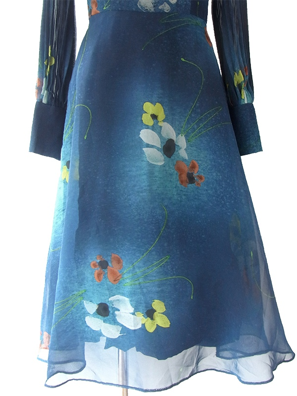 ヨーロッパ古着 ロンドン買い付け 70年代製 藍色 X 花柄 プリーツ袖 ヴィンテージ ワンピース 17OM032