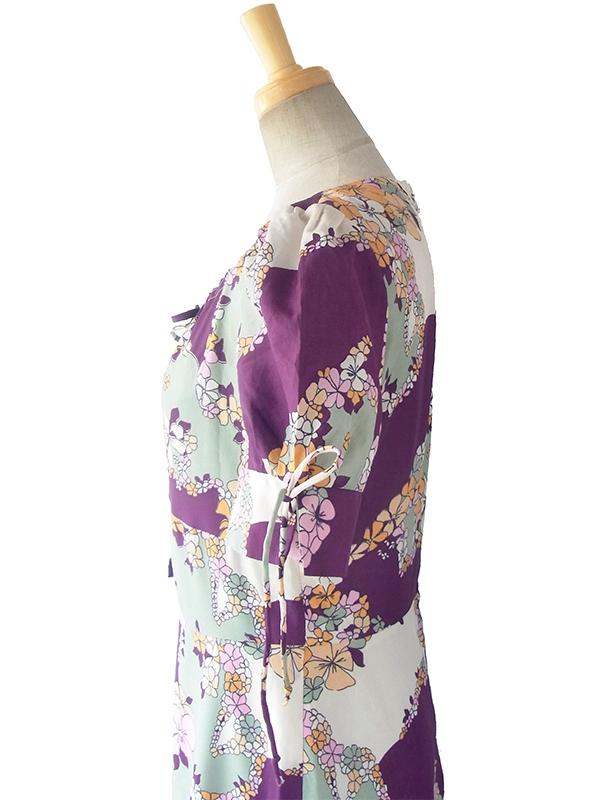 ヨーロッパ古着 ロンドン買い付け 70年代製 パープル X グレイ 花柄 パフスリーブ ワンピース 17OM312